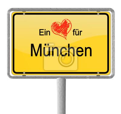 Corazón Ortsschild de Munich