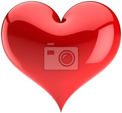 Corazón rojo del amor símbolo brillante. Día de San Valentín elementos de diseño