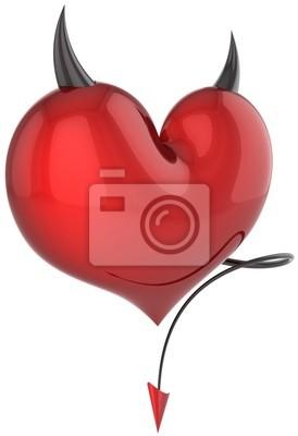 Corazón rojo diablo con cuernos negros y una cola. Amor fatídico