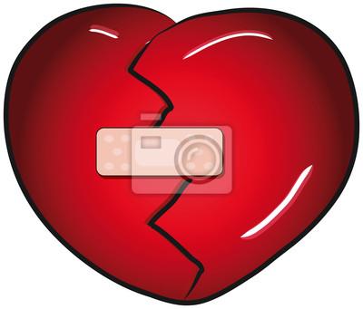 Corazón roto con una curita clip art pinturas para la pared ...