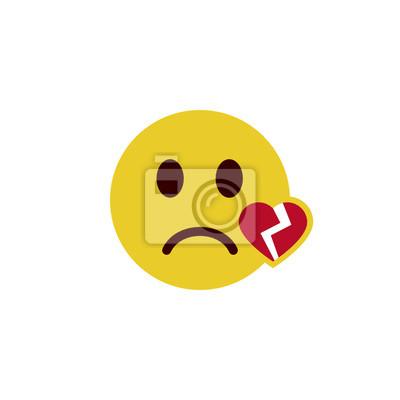 Corazón roto emoji plana pinturas para la pared • cuadros smilie ...