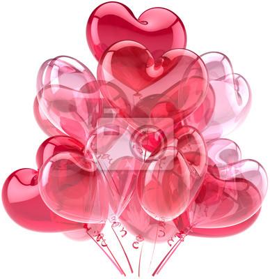 Corazones del amor de parte de globos de cumpleaños linda decoración rosa roja