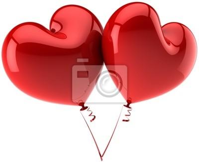 Corazones rojos como globos en el amor. San Valentines day concept