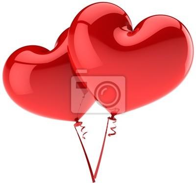 Corazones rojos como pareja de globos en armonía de amor