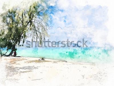 Cuadro Cordillera y agua de mar hermosas coloridas abstractas en Krabi, Tailandia en fondo de la pintura del ejemplo de la acuarela.