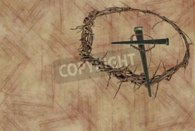 Corona De Espinas Y Clavos En Forma De Cruz Sobre Un Fondo Grunge