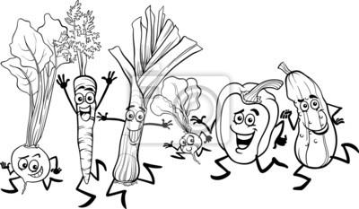 Corriendo Verduras De Dibujos Animados Para Colorear Pinturas Para