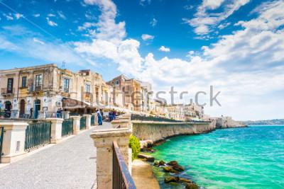 Cuadro Costa de la isla de Ortigia en la ciudad de Siracusa, Sicilia, Italia. Hermosa foto de viaje de Sicilia.