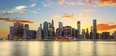 Cuadro Crépuscule à Manhattan, Nueva York.