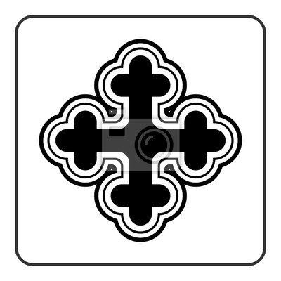 Cruz Icono Símbolo Adornado De La Religión Tradicional Signo