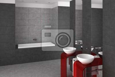 Cuarto de baño alicatado con doble lavabo y bañera pinturas para la ...