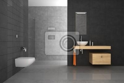 Cuadro: Cuarto de baño alicatado con muebles de madera