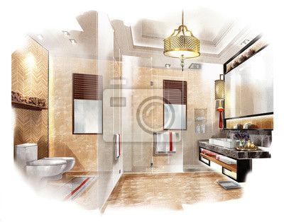 Cuarto de baño de diseño boceto, diseño interior, hotel ...