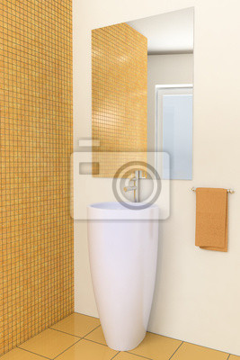 Cuadro: Cuarto de baño moderno 3d con los azulejos marrones en la pared