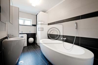 Cuarto de baño moderno con azulejos negro pinturas para la pared ...