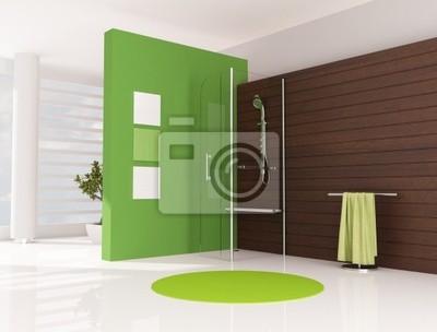 Cuarto de baño verde con cabina de ducha pinturas para la pared ...