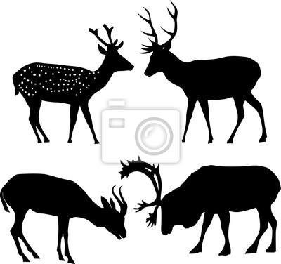 cuatro siluetas de ciervos