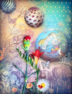 Cuadro Cuento de hadas de fondo con fleld de flores de colores