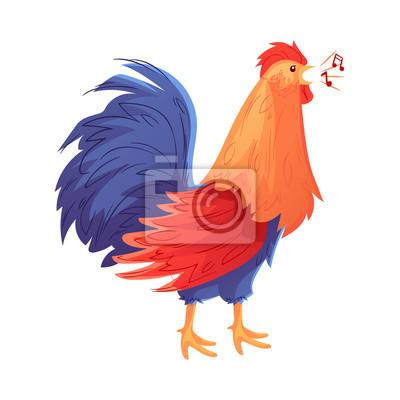 d8786811dd828 Cuadro Cuerpo completo de gallo colorido