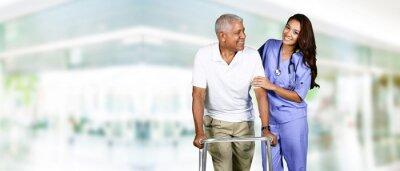 Cuadro Cuidado de la Salud del Trabajador y hombre de edad avanzada