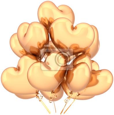 Cumpleaños Globos de oro decoración del partido del amor en forma de corazón