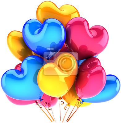 Cumpleaños globos partido decoración de vacaciones de amor en forma de corazón