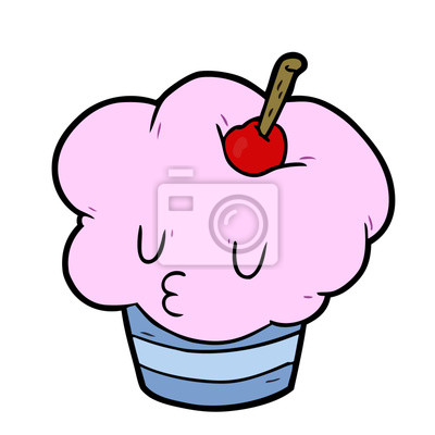 Cupcake De Divertidos Dibujos Animados Pinturas Para La Pared