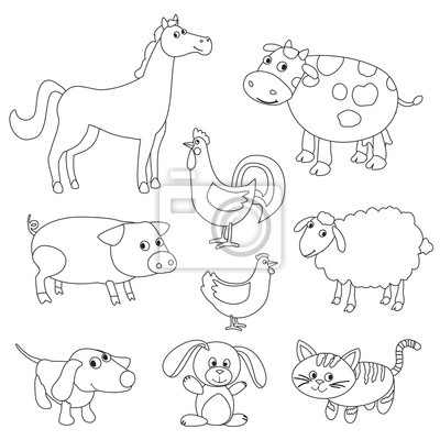 Cute animales de dibujos animados de granja y aves para colorear ...