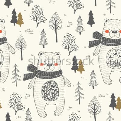 Cuadro cute bear hand drawn forest seamless pattern. Doodle cartoon anymal.