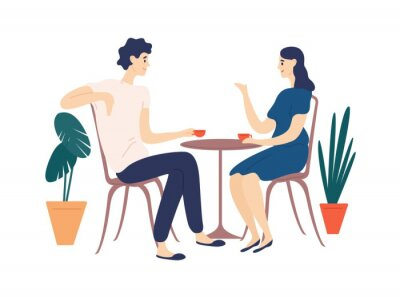 Cuadro Cute couple sitting at table, drinking tea or coffee and talking. Young funny man and woman at cafe on date. Dialog or conversation between romantic partners. Flat cartoon vector illustration.