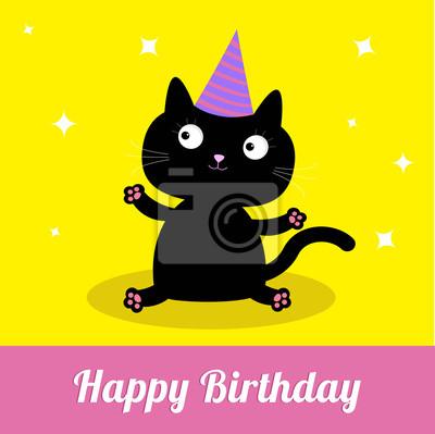 Cute Dibujos Animados Del Gato Negro Con Sombrero Feliz Tarjeta