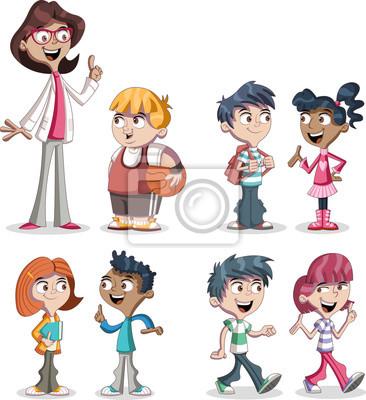Cute Dibujos Animados Niños Y Maestros Estudiantes Adolescentes