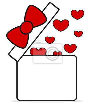 Cute Dibujos Animados Rojo Blanco Caja De Regalo Abierto Con