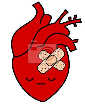 Cute Dibujos Animados Triste Corazón Humano Con Yeso Concepto