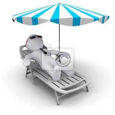 # D hombre en vacaciones bajo el paraguas de sol