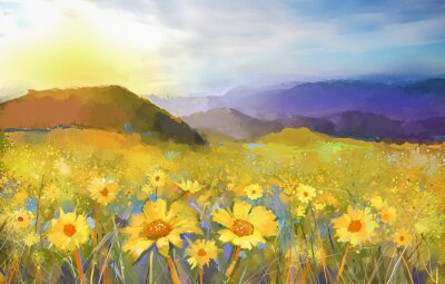 Cuadro Daisy flower blossom.Oil painting of a rural sunset