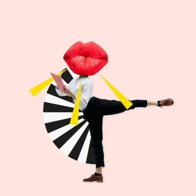 Cuadro Dancing office woman in classic suit like a ballet dancer headed by the big red female lips against trendy coral background. Negative space to insert your text. Modern design. Contemporary art collage