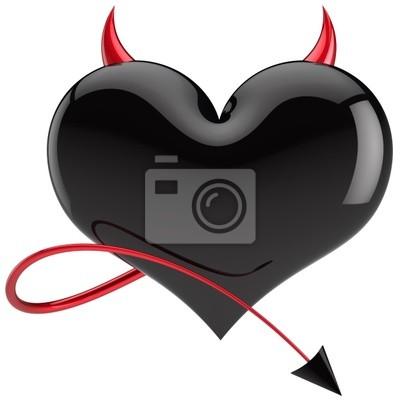 De color negro con cuernos rojos y una cola del amor del corazón del diablo
