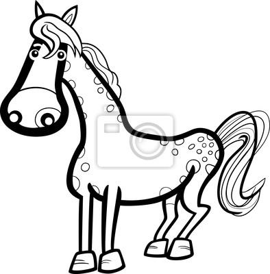 De dibujos animados de animales de granja de caballos para colorear ...
