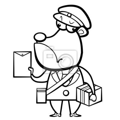 De dibujos animados para colorear cartero oso con la letra y ...