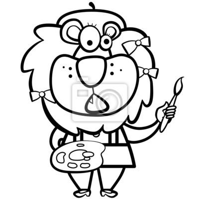 De dibujos animados para colorear león artista con pincel y paleta ...
