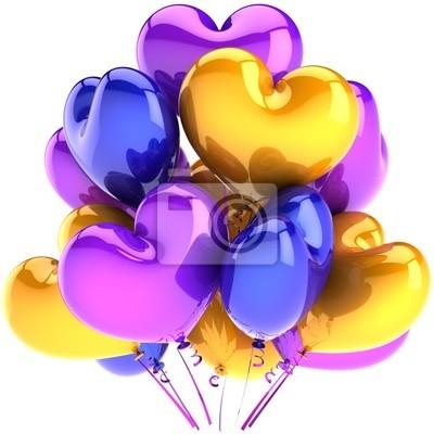 Decoración de cumpleaños en forma de parte de globos corazón romántico
