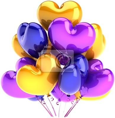 Decoración de globos de cumpleaños del partido en forma de corazón colorido