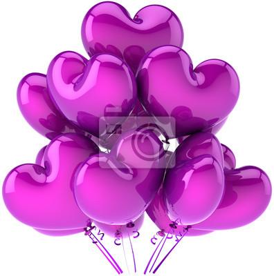 Decoración de globos de cumpleaños del partido en forma de corazón de color púrpura