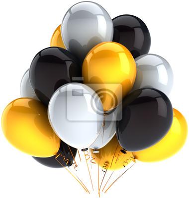 Decoración de globos de cumpleaños fiesta multicolor negro blanco amarillo