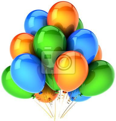 Decoración de globos fiesta de cumpleaños multicolor naranja azul verde