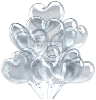 Decoración de los globos de cumpleaños en forma de corazón blanco translúcido