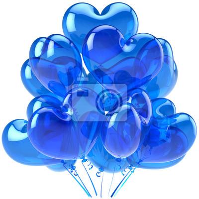 Decoración en forma de corazón Globos azules translúcidos para el partido