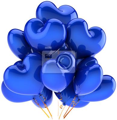 Decoración en forma de globos de fiesta de cumpleaños azul del día de fiesta del corazón