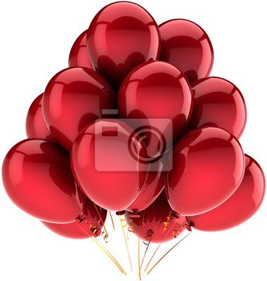 Decoración roja de cumpleaños Fiesta de globos. Alegría feliz abstracto